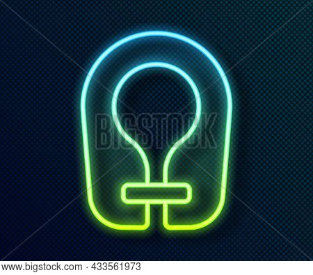 Glowing Neon Line Life Jacket Icon Isolated On Black Background. Life Vest Icon. Extreme Sport. Spor