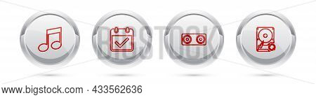 Set Line Music Note, Tone, Calendar With Check Mark, Stereo Speaker And Hard Disk Drive Hdd Sync Ref