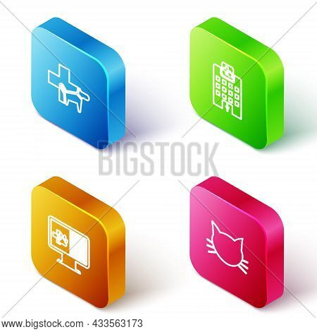 Set Isometric Line Veterinary Clinic, Medicine Hospital, Clinical Record Pet On Monitor And Cat Icon