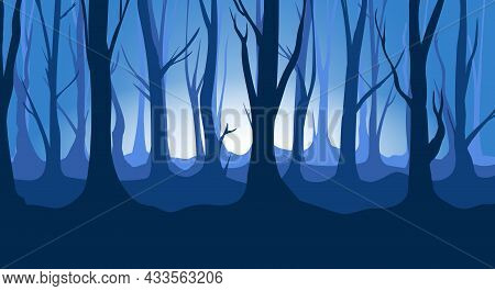 Twilight Forest Backdrop. Scary Foresty Scenery Vector Image, Horror Foggy Woods Landscape, Spooky M