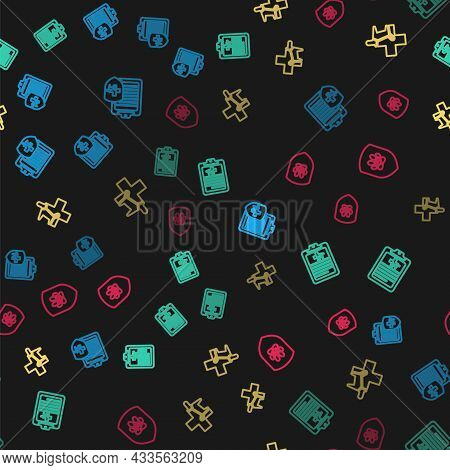 Set Line Clinical Record Pet, , Veterinary Clinic And Animal Health Insurance On Seamless Pattern. V