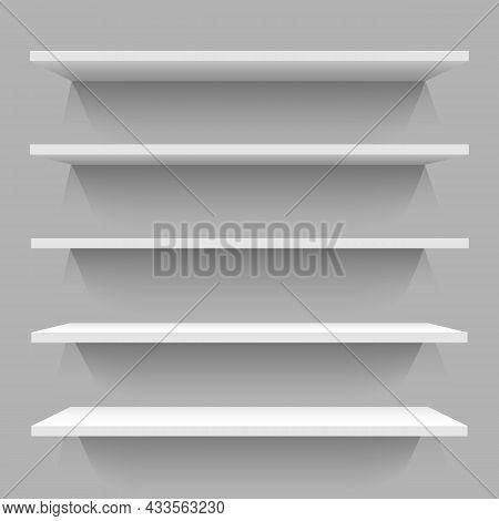 White Wall Bookshelves. Blank Bookshelf Set For Walls, Modern Shelves Vector Picture For Room Books