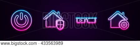 Set Line Power Button, House Under Protection, Smart Glasses And Home Settings. Glowing Neon Icon. V