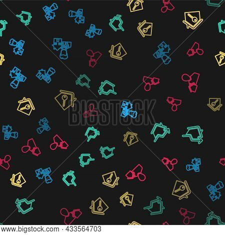 Set Line Realtor, Rising Cost Of Housing, House With Key And On Seamless Pattern. Vector
