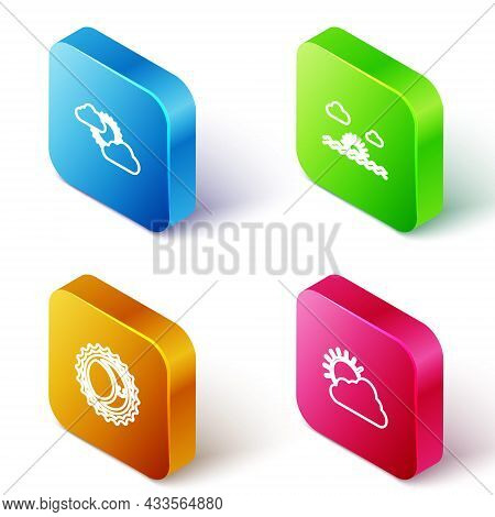 Set Isometric Line Sun And Cloud Weather, Sunset, Eclipse Of Sun And Icon. Vector