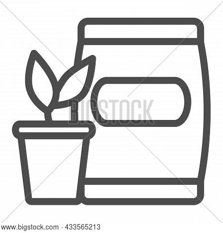 Pot With Sprout And Bag Of Soil Line Icon, Gardening Concept, Seedling And Fertilizer Vector Sign On