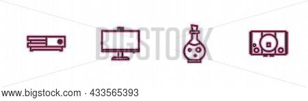 Set Line Video Game Console, Bottle With Magic Elixir, Computer Monitor And Icon. Vector
