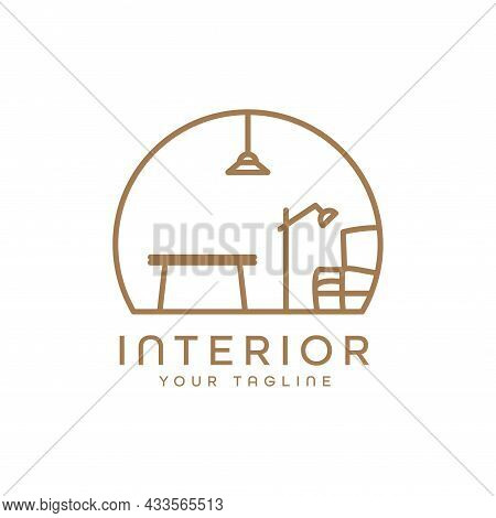 Minimalist Table And Chair Interior Logo Monoline Style Design. Interior Furniture Home Design Minim