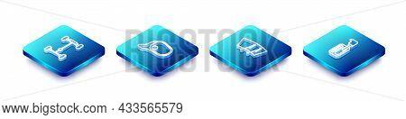 Set Isometric Line Chassis Car, Car Mirror, Windscreen Wiper And Gear Shifter Icon. Vector