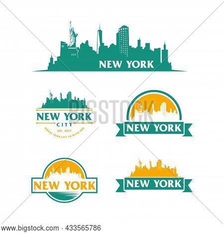 New York Logo Skyline And Landmarks Silhouette Vector