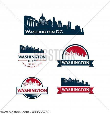 Washington Dc Logo Skyline And Landmarks Silhouette Vector