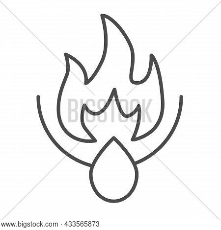 Oil Drop And Fire Flame, Ignition Thin Line Icon, Oil Industry Concept, Inflammation Vector Sign On