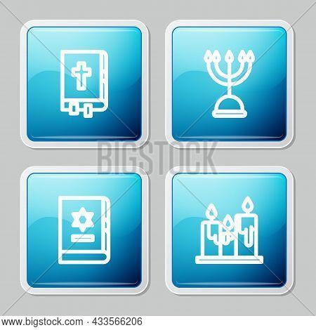 Set Line Holy Bible Book, Hanukkah Menorah, Jewish Torah And Burning Candles Icon. Vector