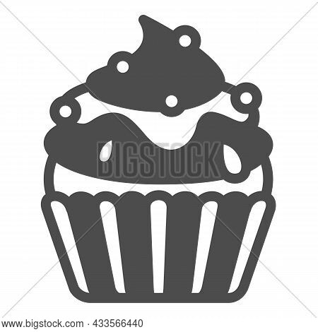 Cupcake With Jam And Sugar Beads Sprinkles Solid Icon, Pastry Concept, Fluffy Muffin Vector Sign On
