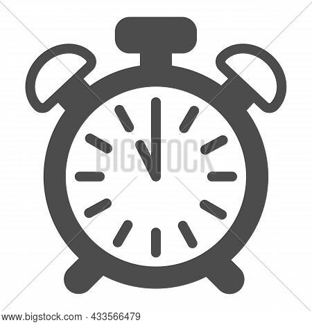 Vintage Alarm Clock With Button, 11 Pm, 11 Am Solid Icon, Time Concept, Timepiece Vector Sign On Whi