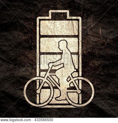 Bicyclist Silhouette With High Full Level Energy Battery
