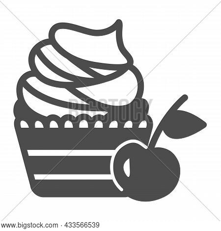 Cherry Cupcake With Whipped Cream Frosting Solid Icon, Pastry Concept, Cherry Muffin Vector Sign On