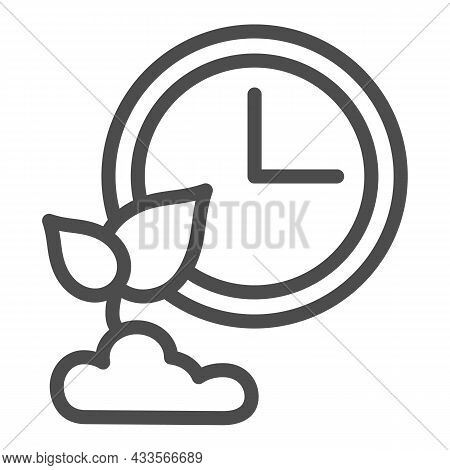 Clock And Sprout In Soil, Growing Time Line Icon, Gardening Concept, Time Of Growth Vector Sign On W