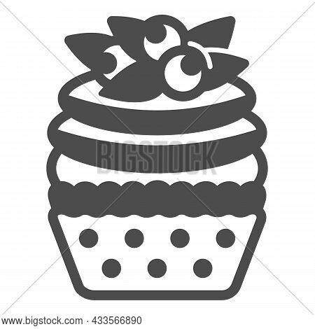 Blueberry Cupcake With Frosting Solid Icon, Pastry Concept, Fruit Muffin With Icing Vector Sign On W