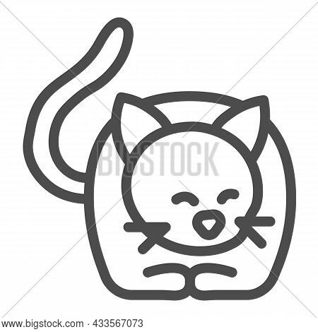 Lying Cat, Kitty With Tail And Whiskers Line Icon, Pets Concept, Kitten Lies Vector Sign On White Ba