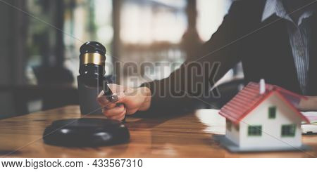 Business Woman Or Legal Advisor Sitting Wooden Desk In Office. Law, Legal Services, Advice, Judge Au