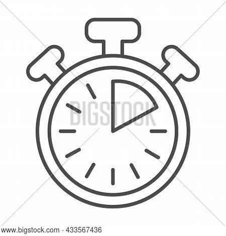 Stopwatch With Buttons, 10 Seconds, Timer, Chronometer Thin Line Icon, Time Concept, Clock Vector Si