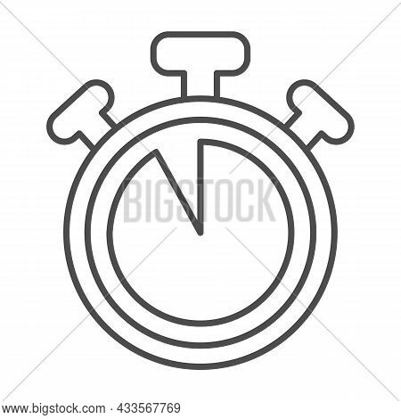 Stopwatch With Buttons, 55 Seconds, Timer, Chronometer Thin Line Icon, Time Concept, Clock Vector Si