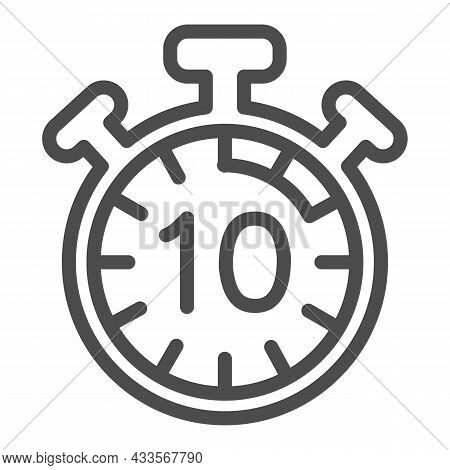 Stopwatch With Buttons, 10 Seconds, Timer, Chronometer Line Icon, Time Concept, Clock Vector Sign On