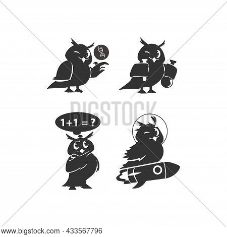 School Owls. Color Cute Birds Studying In School Template. Teaching Education Cartoon Vector Charact