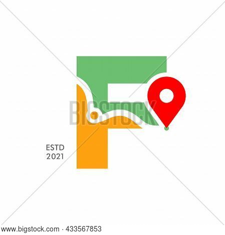 Simple And Modern Illustration Logo Design Initial F Pin Location.