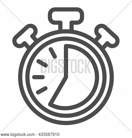 Stopwatch With Buttons, 35 Seconds, Timer, Chronometer Line Icon, Time Concept, Clock Vector Sign On