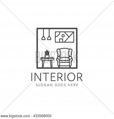 Interior Design Logo, Minimalist Table And Chair Room. Interior Furniture Home Design Minimalist Lin