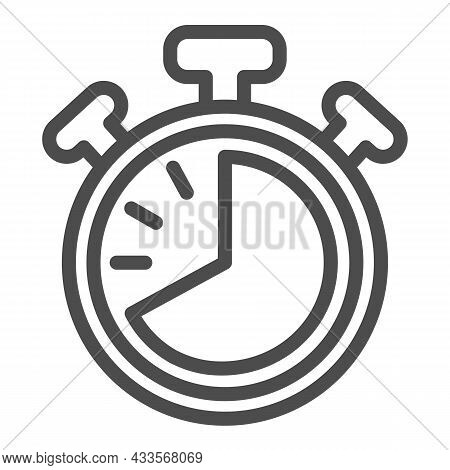 Stopwatch With Buttons, 40 Seconds, Timer, Chronometer Line Icon, Time Concept, Clock Vector Sign On