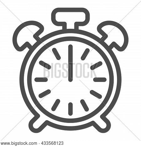 Vintage Alarm Clock With Button, 12 Pm, 12 Am Line Icon, Time Concept, Timepiece Vector Sign On Whit