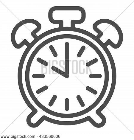 Vintage Alarm Clock With Button, 10 Pm, 10 Am Line Icon, Time Concept, Timepiece Vector Sign On Whit