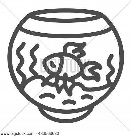 Fish In Fish Tank, Aquarium, Fishbowl Line Icon, Pets Concept, Goldfish Vector Sign On White Backgro