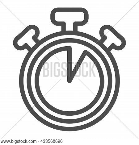 Stopwatch With Buttons, 5 Seconds, Timer, Chronometer Line Icon, Time Concept, Watch Vector Sign On