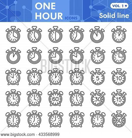 Stopwatch And Alarm Clock Line Icon Set, Time Measurment Symbols Collection Or Sketches. Timer, Time
