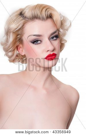 Retro Blond Beauty  Portrait - Isolated On White