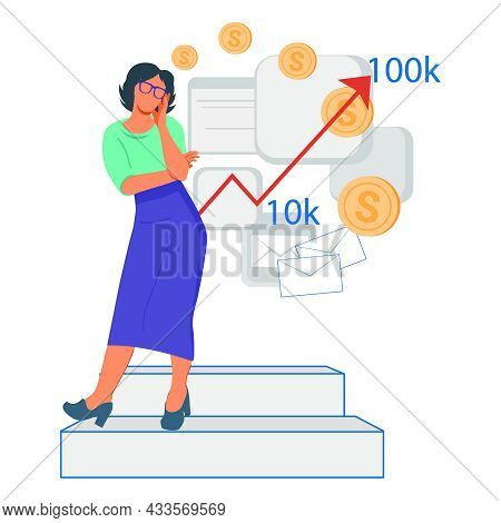 Pensive Business Woman Standing Near Graphs Of Income Growth. Business And Finance Growth, Increased
