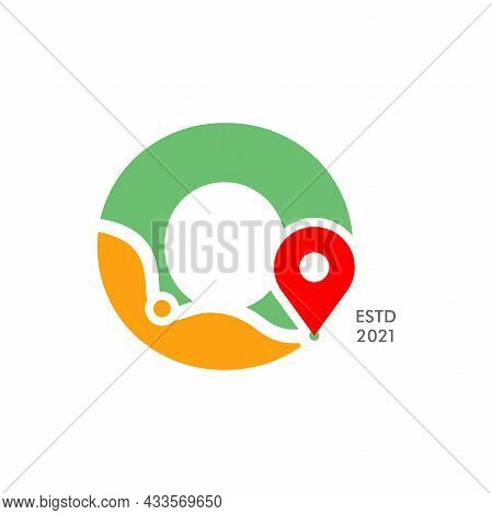 Simple And Modern Illustration Logo Design Initial O Pin Location.