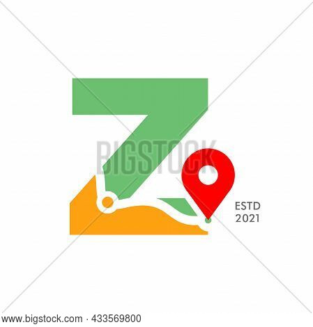 Simple And Modern Illustration Logo Design Initial Z Pin Location.