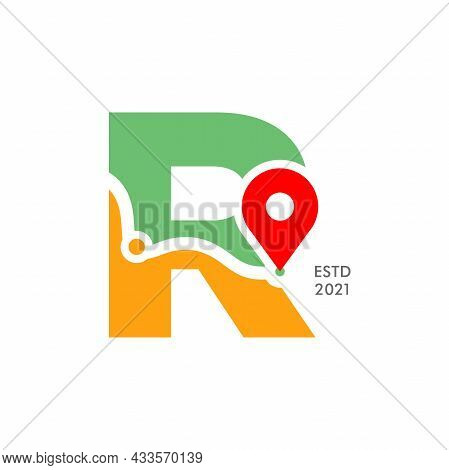 Simple And Modern Illustration Logo Design Initial R Pin Location.