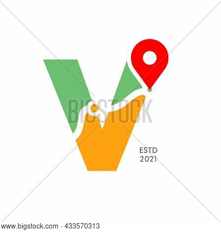 Simple And Modern Illustration Logo Design Initial V Pin Location.