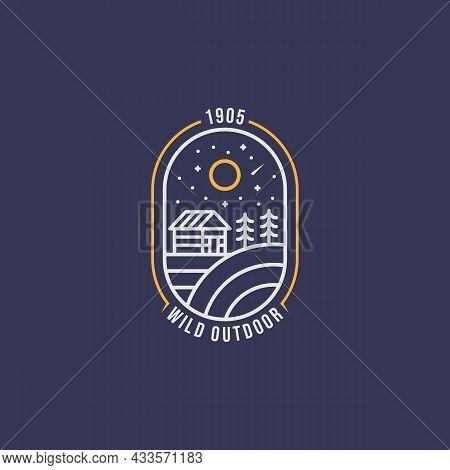 Wild Adventure Cabin Night View Minimalist Line Art Badge Logo Icon Template Vector Illustration Des