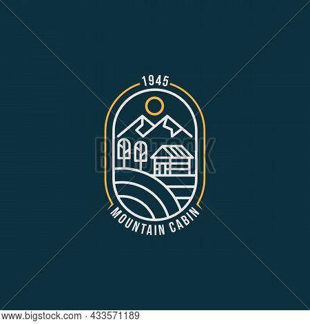 Summer Mountain Cabin Minimalist Line Art Badge Logo Icon Template Vector Illustration Design. Simpl