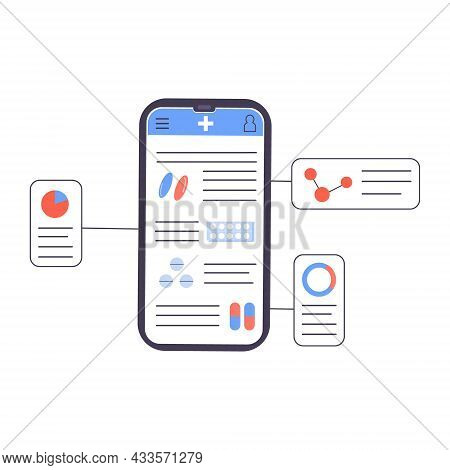 An App With Medical Supplies, Prescription Drugs And Diagram Explanation. Pharmaceutical Pill Formul