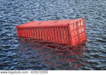 Shipping cargo container lost in the sea or ocean. Cargo isurance concept. 3d illustration