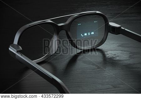 Smart glasses with proection on the screen. VR virtual reality and AR augmented reality technology concept. 3d illustration