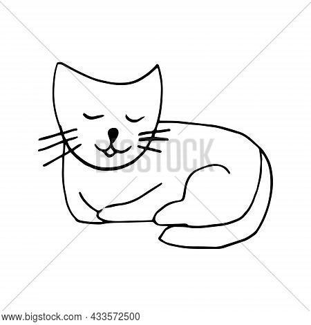Cat Icon. Hand Drawn Doodle. Vector, Scandinavian, Nordic, Minimalism Monochrome Pet Animal Cute Fun
